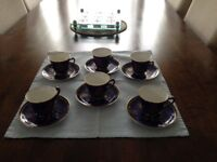 Vintage George Jones blue coffee set 6 cups 6 saucers ex cond