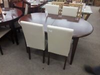 Dark Brown Curved Dining Table and 4 Cream Fabric Chairs