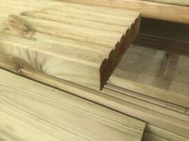 Decking boards pressure treated green