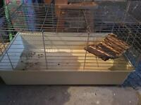 Indoor rabbit/guinea pug/rodent cage with wooden swing/feeder and hay holder!