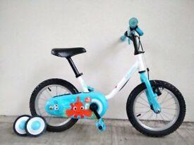 "FREE Bell (2680) 14"" B'TWIN Boys Girls Kids Childs Bike Bicycle + STABILISERS; Age: 3-5, 90-105 cm"