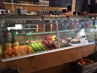 Cafe deli serve over chiller counter with refrigerated storage