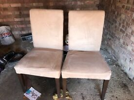 Two dining chairs suede type material