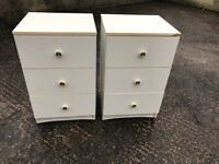 two 3 drawer bedside cabinets