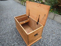 Restored Pine Antique Chest with Candle Drawer
