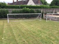 2x heavy duty 16x4 foot football goals solid metal with nets and net bar