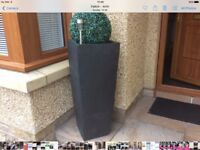 Large black planters x2 with Decrative balls