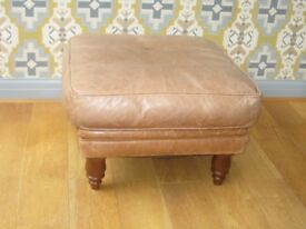 TAN SOFT LEATHER STOOL 60cm X 60cm , 36cm high.