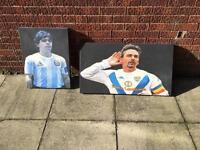 Maradona and baggio canvas prints