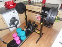 EVERLAST FOLDING WEIGHT BENCH + 50KG WEIGHTS + BARS + CARDIO DUMBELLS SET. NEW FROM XMAS BARGAIN £50