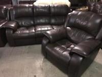 Stunning as new designer brown leather recliner 3 11 sofas set