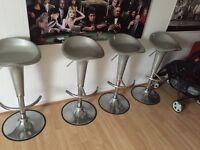4 chrome adjustable bar stools