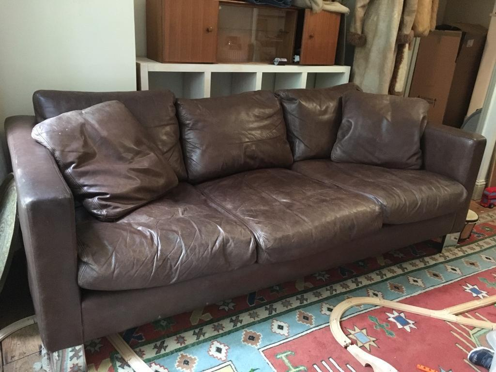 REDUCED - Large chocolate brown leather sofa