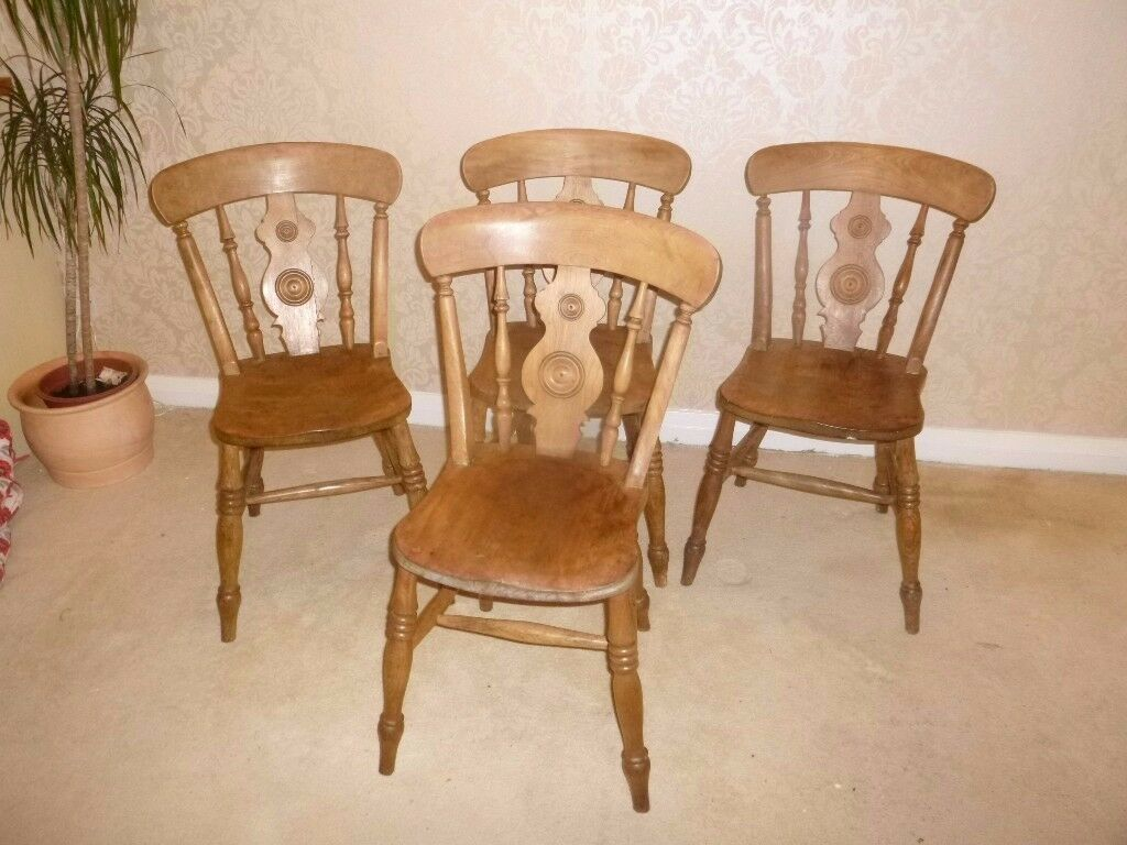 Set Of 4 Genuine Antique Farmhouse Dining Chairs