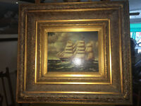 Beautiful Victorian Oil on Canvas Old Sailing Ship in Stormy Seas – Weeb 1882