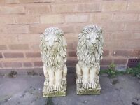 a pair of stone lions