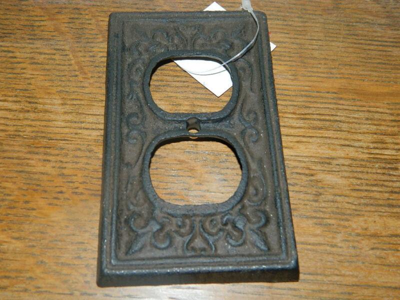 Rustic Cast Iron French Fleur De Lis Double Electric Outlet Plate Cover