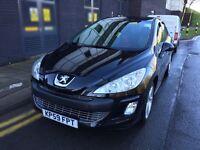 Peugeot 308 2009 1.6L petrol, black 73k miles, MOTed 10/2016, 2 keys, Alloys, side damage, 307 207
