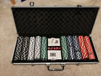 Poker set with folding table
