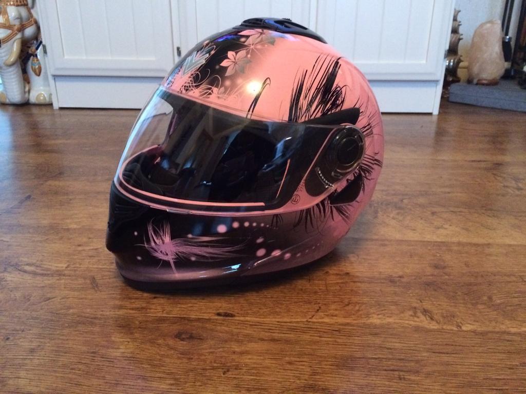 Frank Thomas flip front pink crash helmet