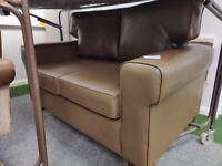 Small brown leather 2 seat sofa modern