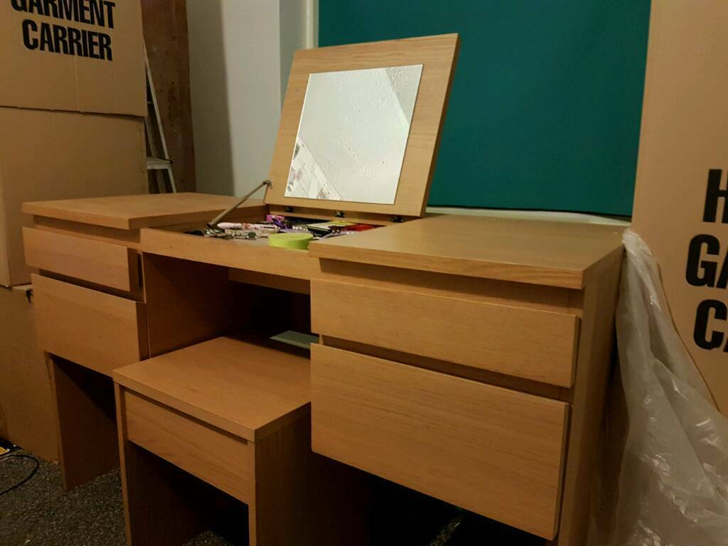 Dressing Table with fold down mirror and stool. Ikea Ransby Oak ...