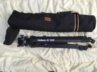 Velbon video/still camera tripod with fluid panhead and carry bag.