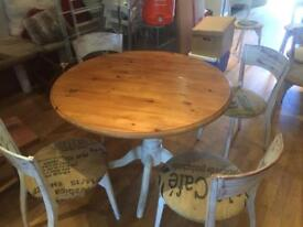 Dining table pine and chairs