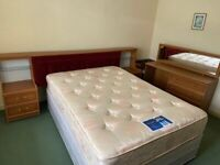 Headboard with draws and lights, matching dressing table and double bed