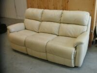Three Seater Cream Leather sofa