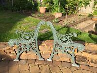 Original Antique cast iron garden bench ends
