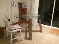 Oak and glass table (Seats 4) + free small table