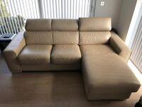 Leather corner DFS sofa in cappuccino