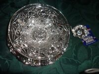 New Silver Plated and Glass Party Dish