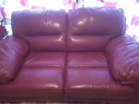 Italian red leather sofas. 3 seater and two seater