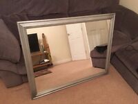 Large Grey/Silver Wooden Framed Mirror