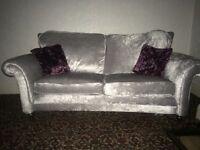 Beautiful crushed velvet settee abd armchair