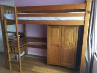 Cotswold solid wood high sleeper bed with wardrobe and desk in antique pine finish, matress included