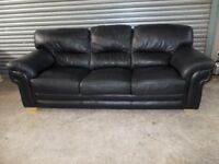 Large Black Leather 3-2-1- Suite (Sofa)