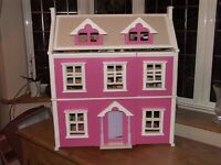 """SOLID WOOD PAINTED DOLLS HOUSE """"NOT MDF"""""""