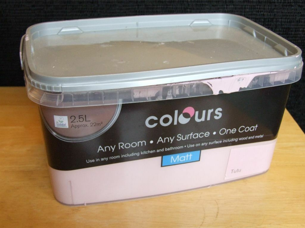 Pink matt emulsion paint. 2.5Litres tin (2/3 full) \'Tutu\' from B&Q ...