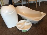 Baby bath, top & tail bowl and nappy bin
