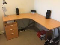 Large Corner Desk with Filing Cabinet and High Back Executive Chair