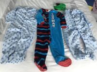 boys sleepsuits fleece all in one onesies bundles age 2-3 years and 18-24 months