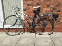 Vintage Raleigh Topaz, Blue and White Bike Bicycle