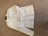 Biker Jacket cream leather size Large 14/16