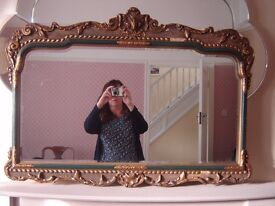 Ornate gold and green mantle mirror