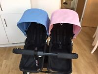 Bugaboo donkey twin powder blue and baby pink