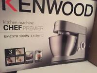 **BRAND NEW KENWOOD KMC570 KITCHEN CHEF PREMIER** WITH ATTACHMENTS & BLENDER SET