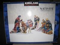 Beautiful Christmas Nativity Set with Wooden Manger….LIKE NEW!!